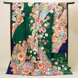 緑 流水に菊梅桜牡丹笹振袖 R09607(R1830 )