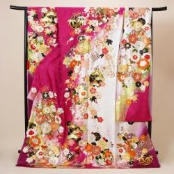 赤紫×白 毬に桜菊梅松振袖 R09461(R1813)