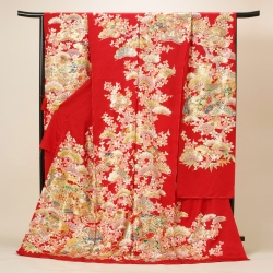 赤地 松桜に桧扇振袖 R9232(R1714)