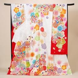 白×赤 松桜梅菊振袖 R09478(R1812)