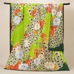 Lako Kula 黄緑 バラと孔雀羽根振袖 R09126(R1723 )