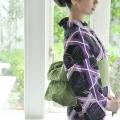 紫 籠目と柳