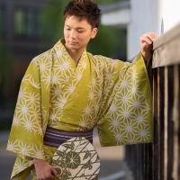 メンズ浴衣福袋 麻の葉-黄