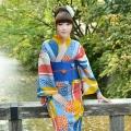 青×黄×橙 矢羽根に菊