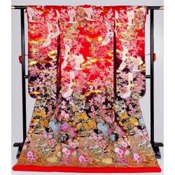 色打掛【13】赤黒 鶴に四季花